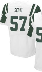 """$78.00--Bart Scott White Elite Jersey - Nike Stitched New York Jets #57 Jersey,Free Shipping! Buy it now:click on the picture, than click on """"visit aliexpress.com"""" In the new page."""