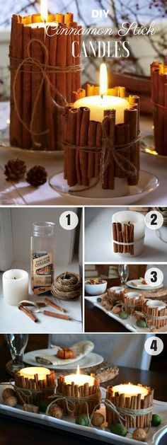 Easy to make DIY Cinnamon Stick Candles for fall decor - Diy Home Crafts Fall Crafts, Decor Crafts, Home Crafts, Diy And Crafts, Fall Home Decor, Cheap Home Decor, Diy Home Decor, Fall Candles, Diy Candles