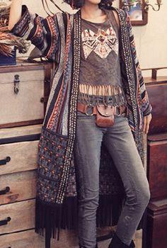 Boho Look, Kimono com franja, camiseta com franja, estilo boho, hippie chic