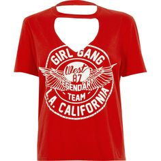 Petite red 'girl gang' choker neck T-shirt