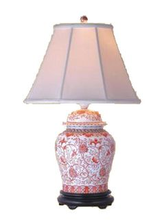 Coral Porcelain Scalloped Tea Jar Table Lamp   Style # G7009 | Tea Jar,  Porcelain And Coral