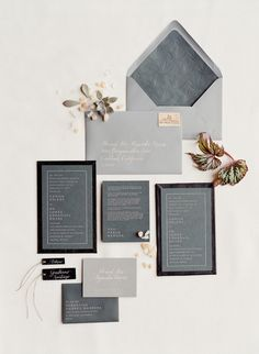 Modern + masculine gray and black invitation suite: http://www.stylemepretty.com/2016/05/18/a-modern-masculine-take-on-a-traditional-mexican-wedding/ | Photography: Jose Villa - http://josevilla.com/