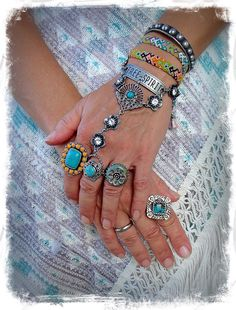 Hand Harness FREE SPIRIT Ring Bracelet Tribal Silver Rhinestone Flower bracelet Message jewelry Boho Summer HIPPIE Gypsy jewelry GPyoga