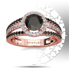 Amarley Black Range - Brilliant Rose Gold Plated Sterling Silver 1.25 CT. Round Cut Black Cubic Zirconia Halo Ring