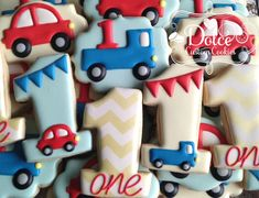 Car and Truck First Birthday Cookies by DolceCustomCookies on Etsy