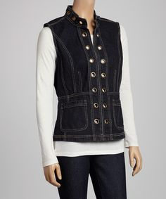 Another great find on #zulily! Corporate Blue Eyelet Denim Vest by Live A Little #zulilyfinds