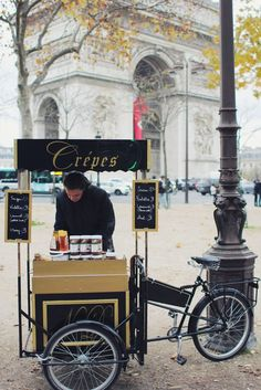 A crepe cart in Paris near the Arc de Triomphe Crepe Stands, Paris France, Gluten Free Crepe, Crepe