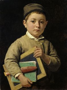 """Schoolboy"", 1881. Albert Anker (1831–1910) Oil on canvas. Museum Oskar Reinhart am Stadtgarten."