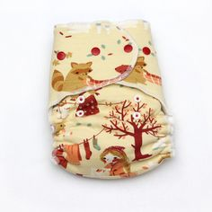 One Size Hybrid Fitted Diaper Autumn Breeze with Organic Knit Print and OCV Lining