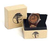 Men's Wood Watch, Natural Bamboo and Sandalwood with Quartz Movement, Genuine Leather Strap