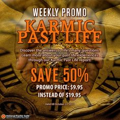 If you believe in #reincarnation, then you'd want to learn more about your past life through our #karmic #pastlife report. For only $9.95 instead of $19.95, you will received a detailed and customized report about the relationship between your past and present lives using the Moon's nodes and Saturn, as well as other factors in the #natalchart.  Get this offer until October 22, 2017 and you will SAVE 50%OFF