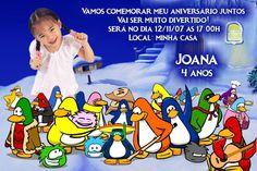 Convite digital personalizado Club Penguim com foto 001