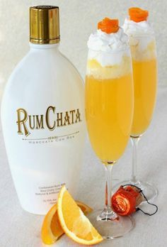 RumChata Creamsicle, champagne, orange juice and RumChata whipped cream, perfect for brunch!