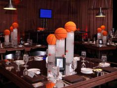 Image detail for -Basketball Centerpieces At A Bar Mitzvah Designed By Terri Bar Mitzvah Decorations, Bar Mitzvah Centerpieces, Sports Centerpieces, Bar Mitzvah Themes, Bar Mitzvah Party, Wedding Reception Centerpieces, Bat Mitzvah, Centerpiece Ideas, Baseball Centerpiece
