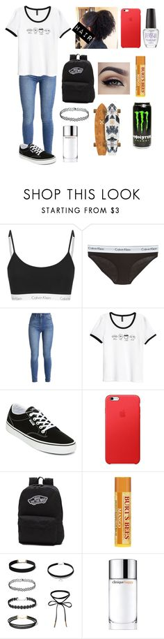 """""""Monday😬"""" by amarianamichelle ❤ liked on Polyvore featuring Calvin Klein Underwear, Vans, Clinique, vans, skater, monday and tshirtweek"""