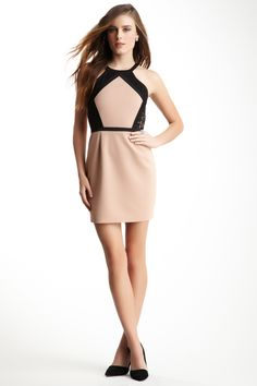 Isabel Lu nude and black lace dress