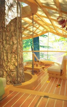 These Amazing Hanging Hotel Rooms Let Guests Camp In Trees Inside, this treehouse has all the amenities of a suite at the Hilton. Woodland House, Cool Tree Houses, Dream Rooms, The Ranch, Cool Rooms, House Rooms, Play Houses, The Places Youll Go, My Room