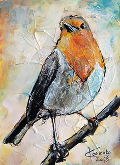 Original modern art Painting on Canvas The European robin European Robin, Modern Art Paintings, The Originals, Canvas, Unique Jewelry, Handmade Gifts, Vintage, Etsy, Tela