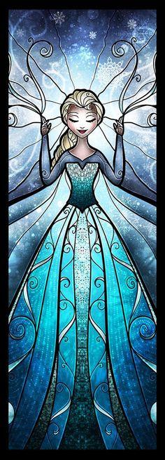 Cross stitch pattern Disney Elsa Stained Glass by XStitchAddict