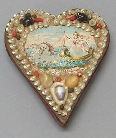 Sailor's Valentine/ Pin Cushion on LiveAuctioneers Seashell Art, Seashell Crafts, Vintage Valentines, Be My Valentine, Shell Flowers, Vintage Sailor, Sewing Notions, Textiles, Heart Art