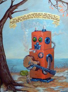 Original Robot Art  The Guitar Picker  Mr Hooper by mrhooper, $480.00