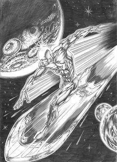Silver Surfer_by ~Buchemi on deviantART Marvel Comics Art, Marvel Heroes, Marvel Characters, Captain Marvel, Silver Surfer Comic, Comic Art, Comic Books, Lovers Art, Art Pictures