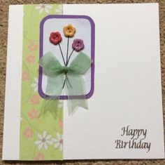 Floral Buttons Happy Birthday - Simple Card Design