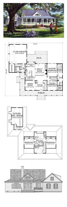 Country House Plan. Total Living Area: 2553 sq. ft., 4 bedrooms and 3 bathrooms. #houseplan #countryhome: