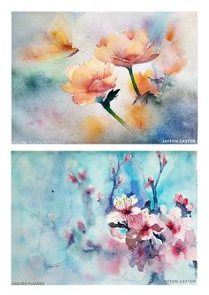 """Sakura and Tulip Flowers"", Watercolour, Painting, Watercolour Painting, Art, Sketches, Daniel Smith Watercolour, Schmincke Watercolour, Drawing, Watercolour Brushes, Freehand, Artist, Watercolour Artist, Wet on wet techniques, Watercolour paper, Acquarell, Arches Watercolour Paper, Saunders Watercolour Paper, Flower Watercolour Painting, Tulips Watercolour Painting, Sakura Watercolour Painting, Urban Sketch Singapore, Jayson Castor Watercolour Painting"