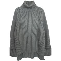 Gray High Low Oversized Turtleneck Sweater ($83) ❤ liked on Polyvore featuring tops, sweaters, jumper, grey, gray oversized sweater, turtleneck tops, turtle neck sweater, grey jumper and gray turtleneck
