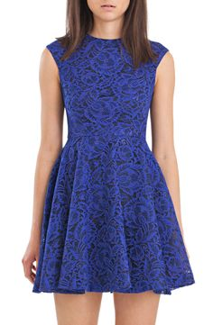 cynthia rowley - Floral Lace Fit and Flare Dress in Cobalt and Black