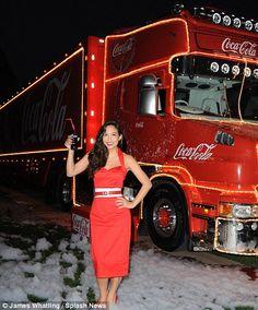Tis the season! Myleene Klass kicks off the festive fun as she launches Coca-Cola's annual Christmas truck tour Coca Cola Christmas, Christmas Truck, Big Trucks, Tis The Season, High Waisted Skirt, Kicks, Product Launch, Vogue, Tours
