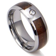 King Will Mens 8mm Tungsten KOA Wood Center Inlay Cz Cubic Zirconium Wedding Ring13 *** Continue to the product at the image link.