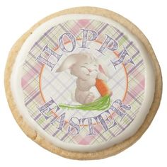 Custom hoppy easter bunny stripes plaid pattern card things i hoppy happy easter bunny stripes and plaid pattern round shortbread cookie fun gifts funny diy negle Image collections