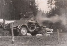 A German SdKfz 222 opens fire with its 20 mm gun post_tags] Military Photos, Military History, Mg 34, Armored Vehicles, Armored Car, Germany Ww2, Tank Armor, War Thunder, Armored Fighting Vehicle
