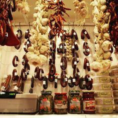 Hanging sausages, gigantic garlic & cured meat!😊 How exciting! 🍴 #Athens #foodtour #greekfood | Greece