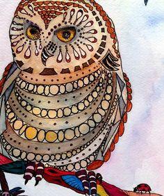 Owl watercolor illustration print   EllenBrennemanStudio - Print on ArtFire