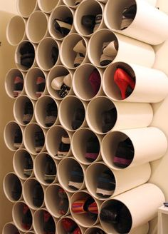 Pvc pipes for shoe organizing! #smallspaces #kwrt