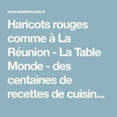 Haricots rouges comme à La Réunion - La Table Monde - des centaines de recettes de cuisine françaises et du monde