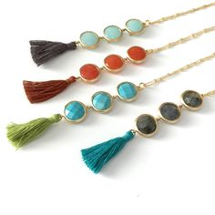 A personal favorite from my Etsy shop https://www.etsy.com/listing/234966833/long-stone-tassel-necklace-triple-stone