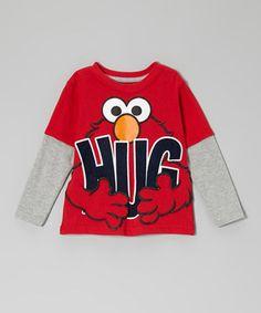 Loving this Red Elmo 'Hug' Layered Tee - Toddler on #zulily! #zulilyfinds