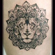 Lion Mandala tattoo by JC SpooNeedle Arton tattoo (France) Tattoos Motive, Love Tattoos, Beautiful Tattoos, Body Art Tattoos, Tattoos For Guys, Hip Tattoos, Tatoos, Arm Tattoo, Tattoo Henna