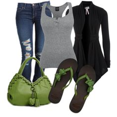 "Early Spring Outfit. I love this outfit. The tank, cardigan and the jeans look super comfortable plus the color pop of green is super cute.  ""Comfy Gal""-Polyvore"