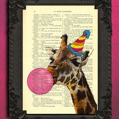 Giraffe bubblegum art print party animal giraffe by MadameMemento