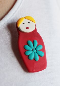 Russian doll brooch, handmade from fimo. £2.