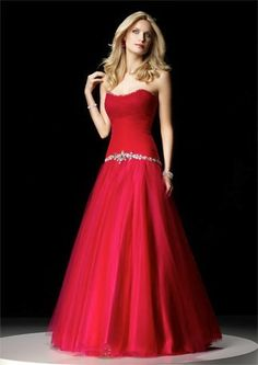 Beautiful red ball gowns.  This strapless a-line style dress would be lovely for many formal occasions.  Our design firm is located in the USA and we specialize in affordable custom #eveninggowns and formal dresses for all sizes of women.  See other red evening gowns for more inspiration at www.dariuscordell.com