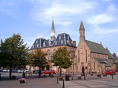 The French styled Town Hall and St. Anne's church in Bishop Auckland Market Place.