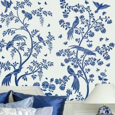 Chinoiserie-wallpaper-stencil-wall-mural-oriental-blue-bedroom