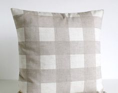Shabby Chic Pillow Cover - Gingham Cushion Cover - Shabby Chic Pillow Sham - 16 Inch - 16x16 - Gingham Oatmeal