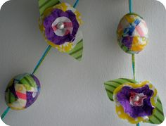 Easter Eggs Garland. Mod Podge abric scraps to blown out eggs and string on pretty yarn.
